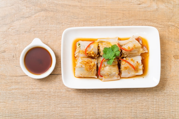 Chinese steamed rice noodle rolls - asian food style