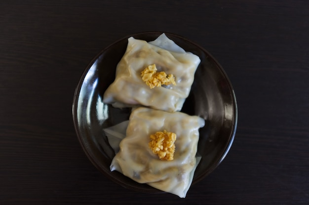 Chinese steamed rice noodle rolls whit bamboo shoot