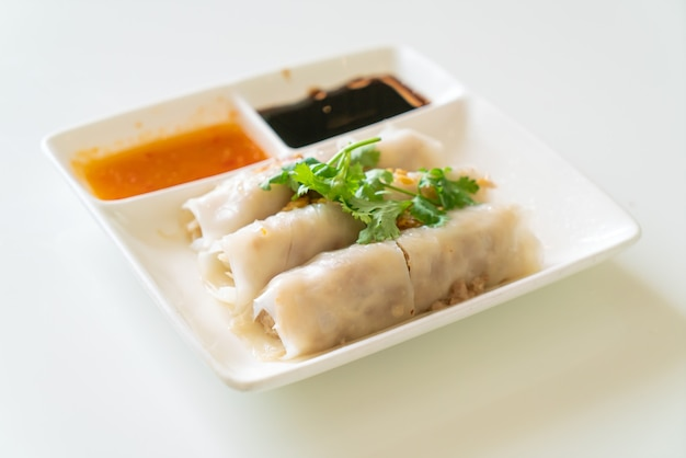 Chinese steamed rice noodle rolls with crab - asian food style