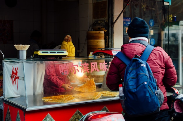 Chinese street food on shnaghai streeets traditional fast food