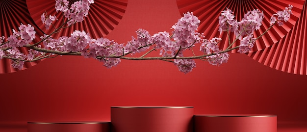 Chinese style abstract backgroundcherry blossom and red pan for product presentation3d rendering