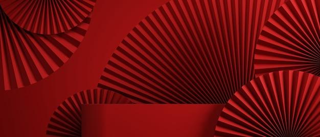 製品プレゼンテーション3dレンダリングのための赤い背景を持つ中国風の抽象的なパンと表彰台