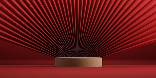 製品presentation3dレンダリングのための中国風の最小限の抽象的な表彰台と赤い背景