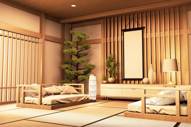 Chinese style room interior. 3d rendering
