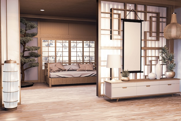 Chinese style room wooden interior with wooden floor on wall paper and decoration. 3d rendering