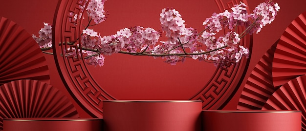 Chinese stylecherry blossom and red pan background for product presentation3d rendering