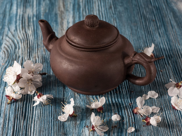 Chinese teapot and flowers apricots