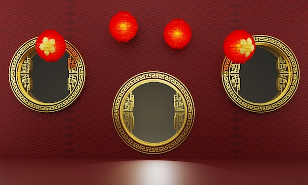 Chinese three golden gate decorated with umbrellas and red lanterns on a red background