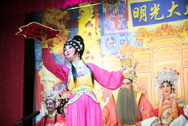 Chinese traditional opera actor with theatrical costume