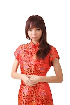 中国の女性のドレスnの伝統的な服、チャイナドレス、クローズアップの肖像画。