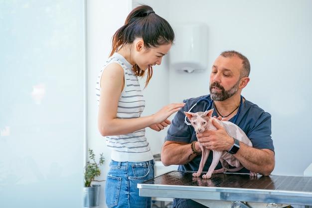 病院でスフィンクス猫の世話をしている中国人女性。