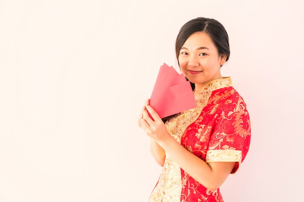 Chinese woman with angpao money