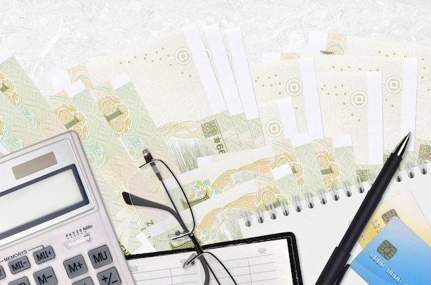 Chinese yuan bills and calculator with glasses and pen