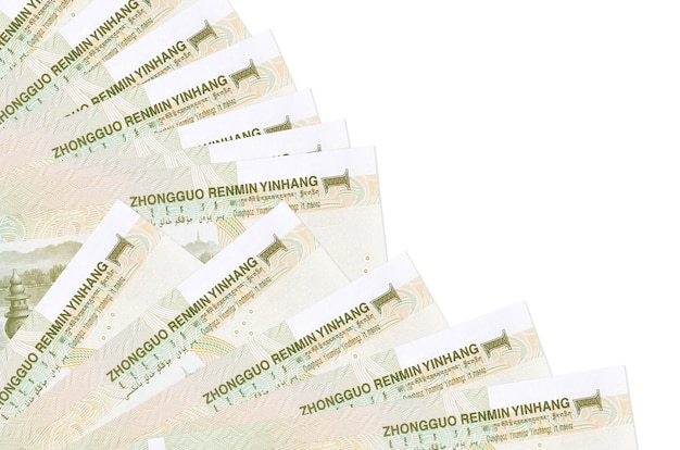 Chinese yuan bills lies isolated