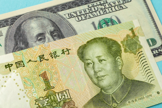 Chinese yuan and dollar. chinese and american currency, economics and politics