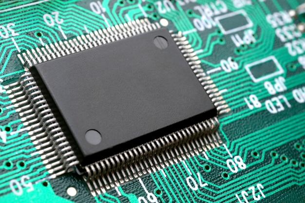 Chip on circuit board closeup