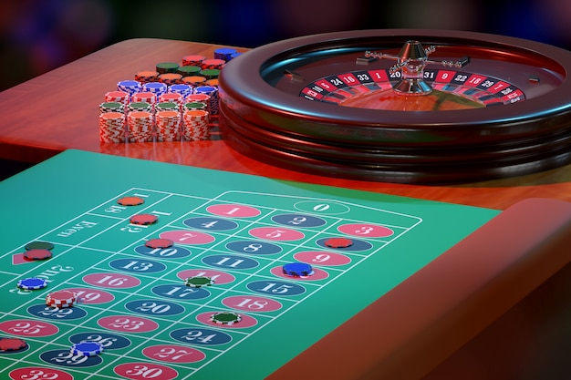 Chips on a casino roulette table. selective focus.
