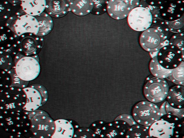 カジノの緑のテーブルの背景に賭けやポーカーゲーム、ギャンブルをするためのチップ。上面図、フラットレイ。グリッチ効果のある白黒写真