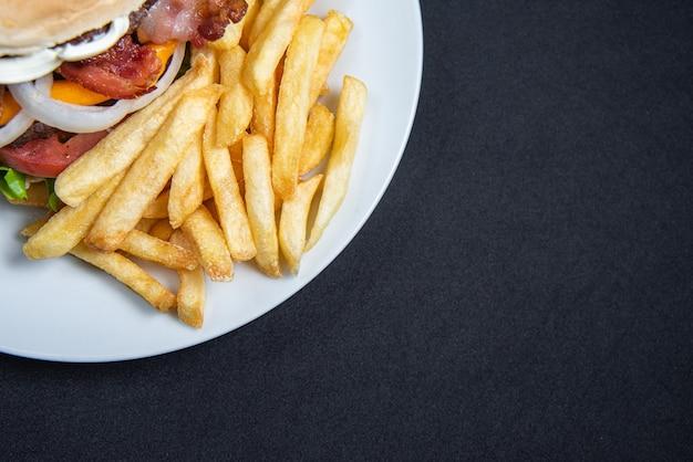 Chips portion detail on black background
