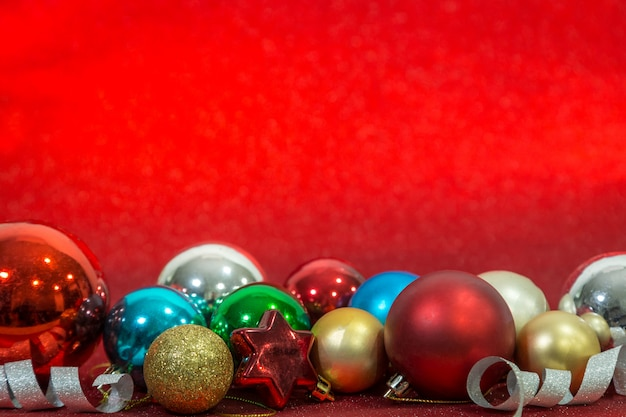 Chirstmas ball on red background for celebration. chirstmas festival concept. copy space.