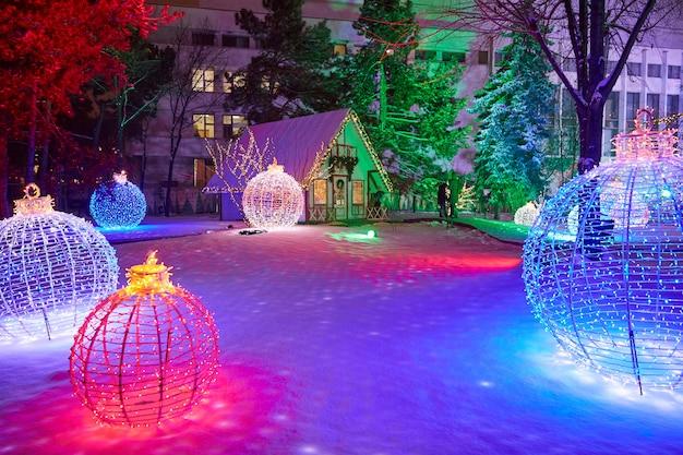 Chisinau christmas fair at night