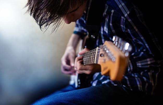 Chisinau moldova  june 27 2019 a young men playing electric guitar electric guitar playing