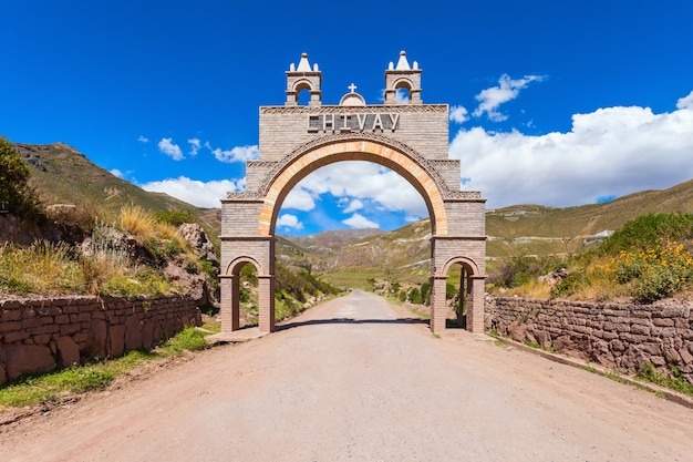 Chivay city entrance gate in peru