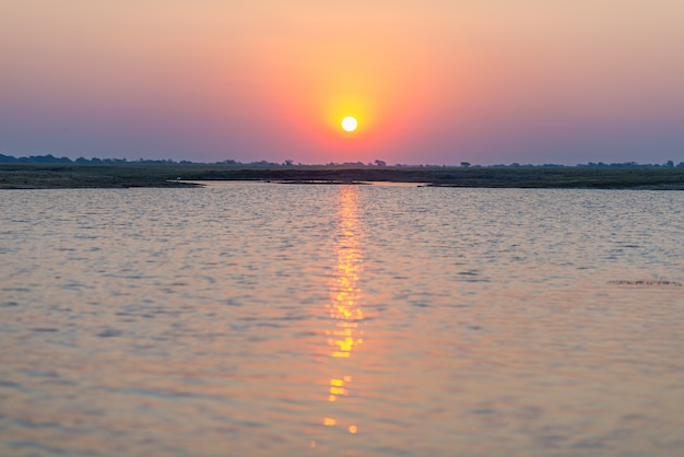 Chobe river in backlight at sunset. scenic colorful sunlight at the horizon.