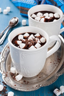 Chocolate almond milk with marshmallow