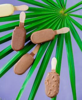 야자수와 초콜릿과 크림 아이스크림은 보라색 벽에 나뭇잎.
