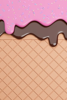 チョコレートとストロベリーアイスクリームをウエハースの背景に振りかけると溶かし、