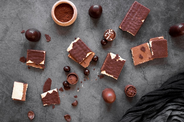 Chocolate assortment on dark background
