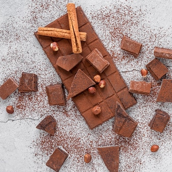 Chocolate assortment on light background