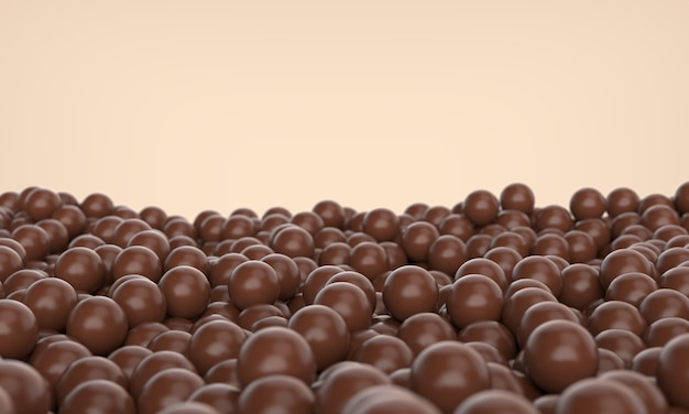 Chocolate balls on the ground, 3d illustration.