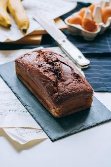 Chocolate banana bread, morning breakfast