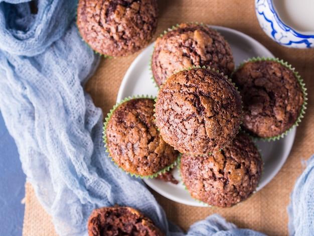 Chocolate banana muffins with sugar topping