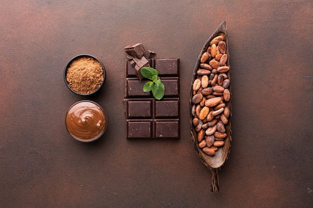 Chocolate bar arrangement in flat lay