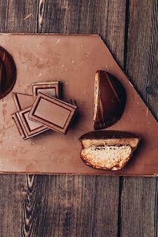 초콜릿 바 진미 과자 코코아 미식가 나무 배경