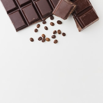 Chocolate bar on plain background