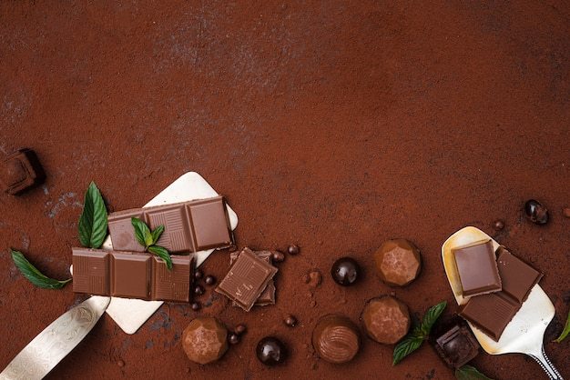 Chocolate bar truffles and cocoa powder with copy space