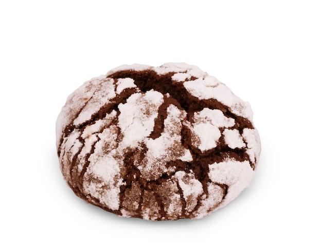 흰색 배경에 분리된 초콜릿 비스킷