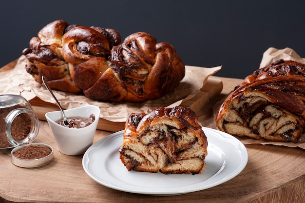 Chocolate bread stuffed with hazelnut cream