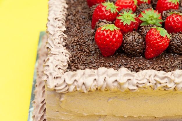 Chocolate brigadeiro cake with strawberries