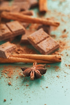 Chocolate broken into slices with cocoa powder and spices on a green surface
