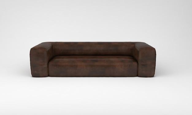 Шоколадно-коричневый большой диван вид спереди мебель 3d рендеринг