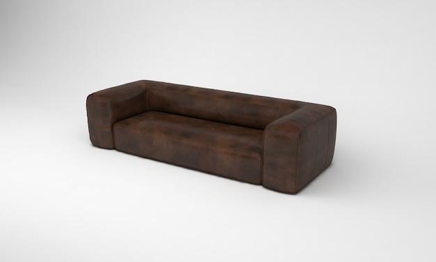 Шоколадно-коричневый большой диван сбоку просмотр мебели 3d рендеринг