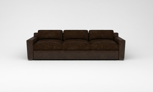 Шоколадно-коричневый диван вид спереди мебель 3d визуализация
