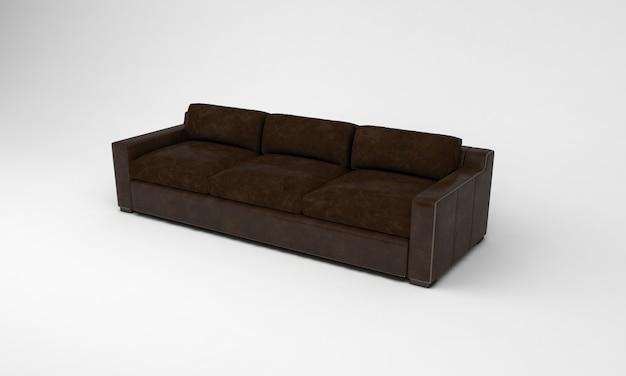 Шоколадно-коричневый диван сбоку просмотр мебели 3d рендеринг
