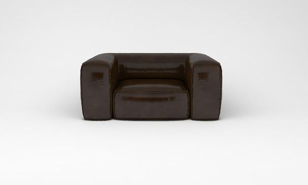 Шоколадно-коричневый диван одноместное сиденье спереди просмотр мебели 3d рендеринг