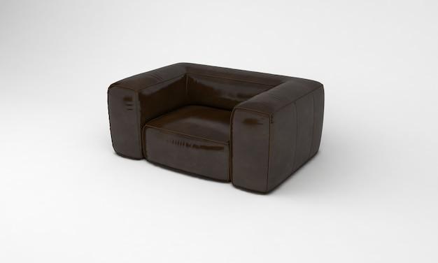 Шоколадно-коричневый диван одноместное сиденье вид сбоку мебель 3d рендеринг